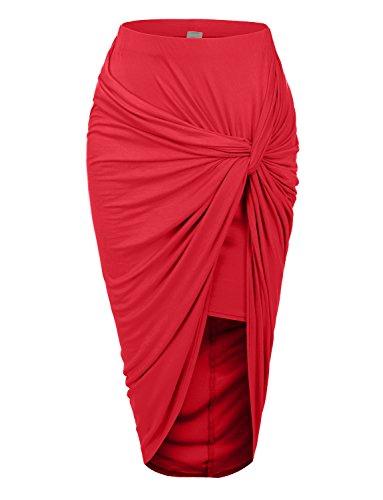 RK RUBY KARAT Womens Asymmetrical Banded Waist Wrap Cut Out Hi Low Maxi Skirt, DARKCORAL, Medium