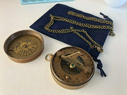 "Antique Finish Brass Sundial Compass w/Lid & 27"" Chain & Bag -Small Mini Pocket for Home Decor Collection"