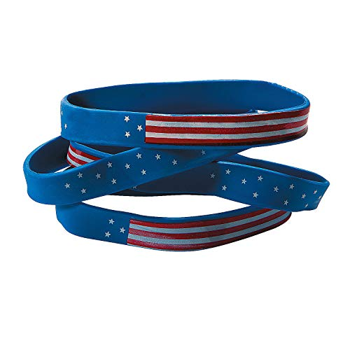 Fun Express Rubber Patriotic Flag Bracelet for Fourth of July - Jewelry - Bracelets - Rubber Bracelets - Fourth of July - 12 Pieces