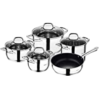 Bergner Gourmet 9piece Stainless Steel Cookware Set, Induction, Silver