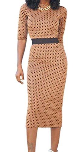 Bodycon Dresses Elegant Dot Coolred Evening Khaki Party Women Half Sleeve q8CCw5E