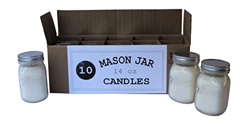 Set of 10 Bulk Wholesale Mason Jar Candles - 14 Ounce - Perfect For Weddings, Restaurants, Gifts, Baby (Mini Mason Jars In Bulk)