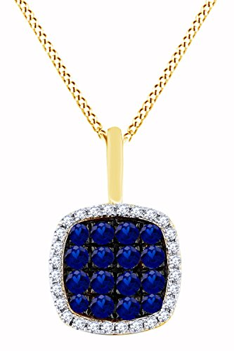 Simulated Blue Sapphire & White Natural Diamond Cushion frame Pendant in 14k Solid Yellow Gold (0.41 Cttw) (Yg Frame 14k)