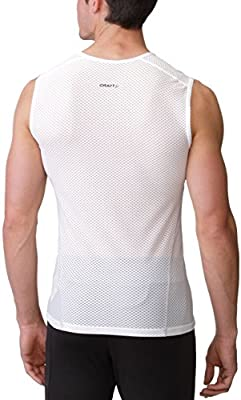 Mens Sleeveless Base Layer Top Cool Mesh Lightweight Cycling White Ergonomic Fit