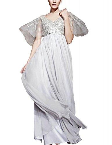 bodenlangen Perlen Mantel BRIDE Spalte mit Elfenbein GEORGE Abendkleid Ausschnitt Applikationen V Chiffon 5RwXzzqP