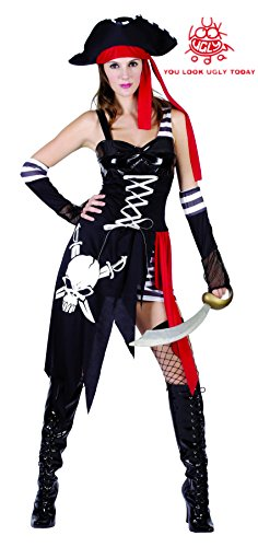 YOU LOOK UGLY TODAY Women's Pirate Lady Halloween Party Costume Outfit (Wench Halloween Outfit)