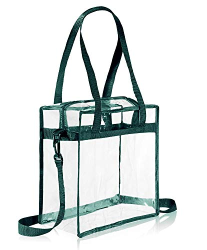 BAGAIL NFL and PGA Stadium Approved Clear Tote Bag with Zipper Closure Crossbody Messenger Shoulder Bag with Adjustable Strap(12 Inch X 12 Inch X 6 Inch,Green)