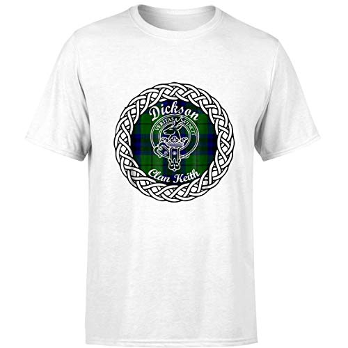 Dickson Surname Last Name Scottish Clan Tartan Badge Crest (Unisex T-Shirt/White/L) -