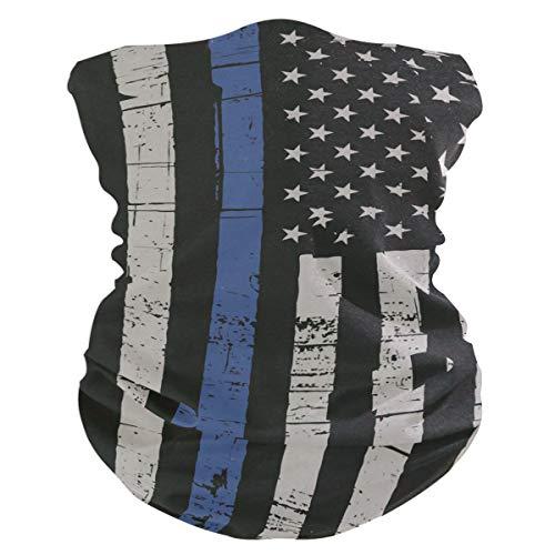 Neck Gaiter, Headwear, Face Sun Mask, Magic Scarf, Police Thin Blue Line Flag Headband for Cycling, Running, ()