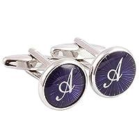 HJ 2PCS Gemelos chapados en rodio de plata Camisa con letra inicial de la boda Negocio de la boda 1 par de conjunto púrpura A