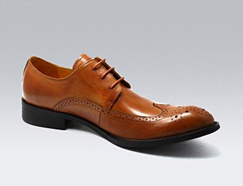 Scarpe Uomo in Pelle Scarpe da uomo a punta di stile britannico retrò ( Colore : Nero , dimensioni : EU44/UK8.5 ) Marrone