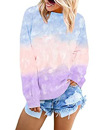 neveraway Womens O-Neck Casual Loose Color Block Winter Fall Tunic Sweatshirts Tops S