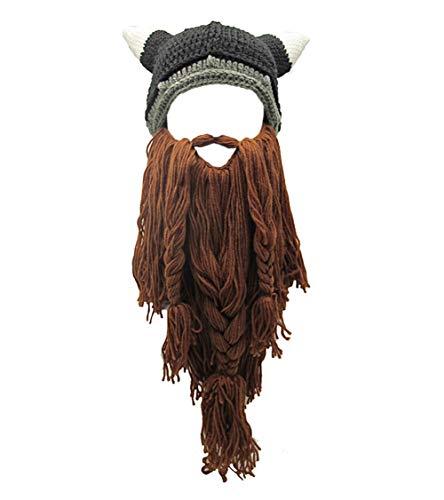 MerryJuly Men's Head Barbarian Vagabond Beanie Original Foldaway Beard Hats Halloween Viking Horns Bearded Caps (Viking Horns&Brown Beard)