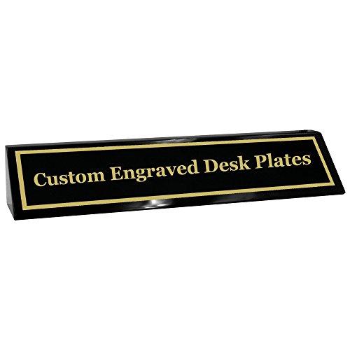 Custom Desk Name Plate | Gold Aluminum Engraved Black Wedge| Free Engraving | Custom Name Wedge