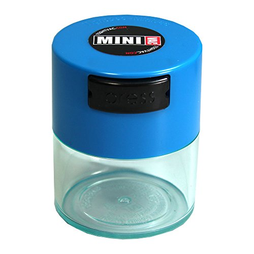 Minivac - 10g to 30 grams Airtight Multi-Use Vacuum Seal Portable Storage Container for Dry Goods, Food, and Herbs - Light Blue Cap & Clear Body