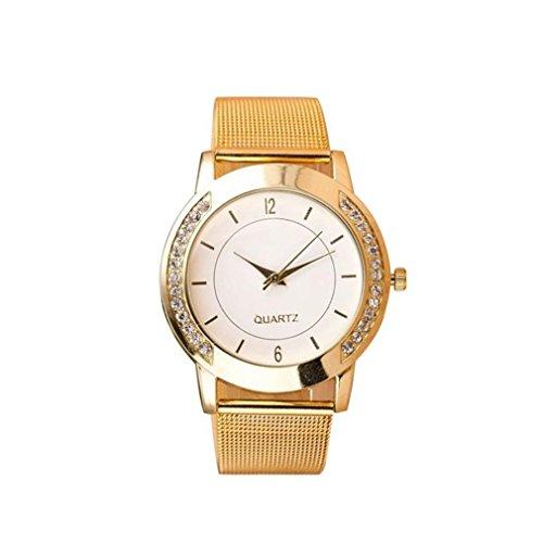 Winhurn Stylish Crystal Golden Stainless Steel Analog Quartz Women Wrist Watch (Polar Blood Pressure Watch)