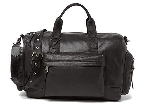 John Varvatos Star USA Men's Gramercy Pocket Duffel Zip Top Leather Bag Black