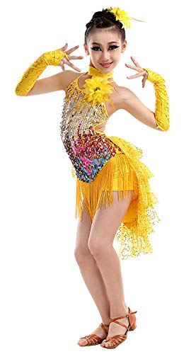 (Kid Girls Tassel Dance Dress Jazz Ballroom Rumba Ice Skating Dancewear Dancing Performance Competition Uniforms, Yellow, 6-7Y)