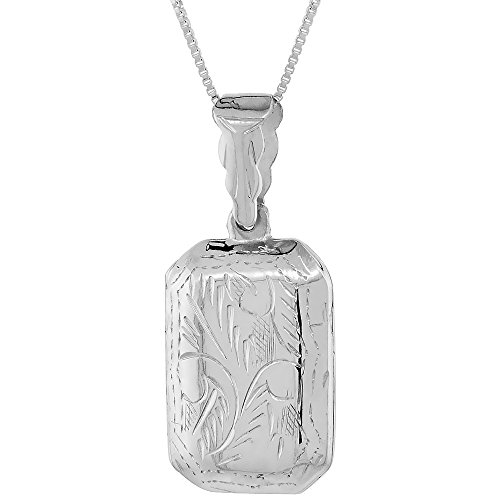 Sterling Silver Octagon Locket Pendant / Charm Engraved Handmade, 7/8 - Locket Octagon Engraved