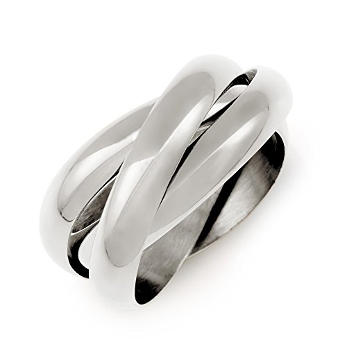 Russian Wedding Band Ring - Sterling Silver Triple Roll Russian Wedding Ring, Sizes 5 to 12