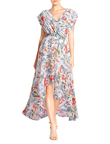 FASHIONMIA Women's Floral High Low Maxi Dress Faux Wrap Boho Summer Party Chiffon Dresses