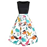POTO Women Dresses Summer Ladies Sleeveless Vintage Dress Party Dress Dinosaur Printed Tank Dress Beach Dress Sundress Black