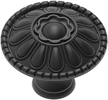 Flat Black and White Patten 3 Ceramic Knob