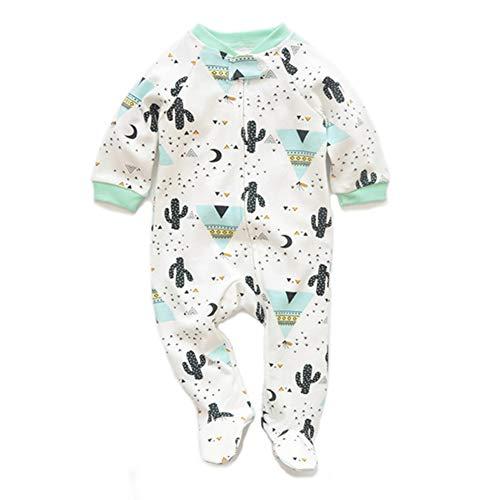 JooNeng Newborn Baby Cotton Footies Romper Infant Long Sleeve Animal Plant Printed Sleeper Pajamas Onsies,Cactus ()
