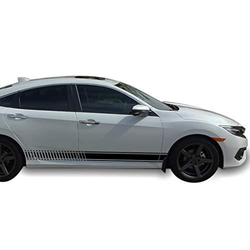Bubbles Designs Decal Sticker Vinyl Side Sport Stripe Kit Compatible with Honda Civic 2015-2017 (Black)