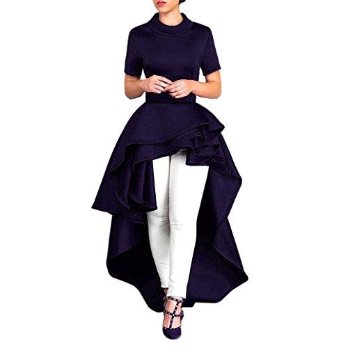 (Goddessvan Women Short Sleeve High Low Peplum Dress Bodycon Party Club Asymmetrical Dress (M, Dark Blue))
