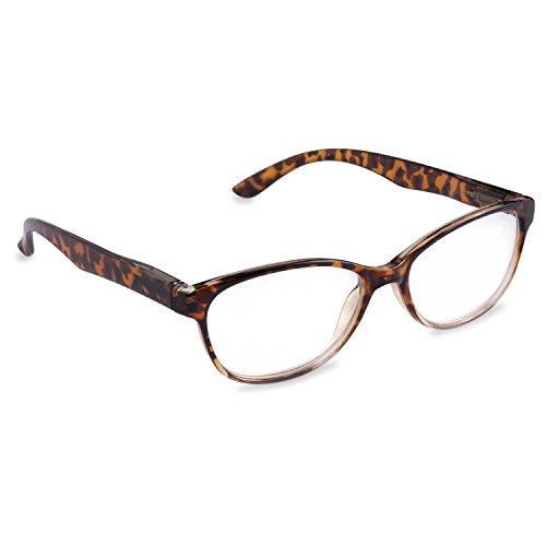 Inner Vision Women's Reading Glasses w/Spring Hinges & Case - (3.5 x Magnification) - Brown Tortoise