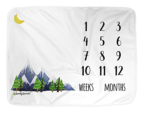 LovelySprouts Premium Fleece Monthly Milestone Blanket | Will Not Wrinkle Or Fade Like Muslin Blankets | Large 60 x 40 Size | The Original | Perfect for Baby Boy Or Girl Photo Props, Mountain
