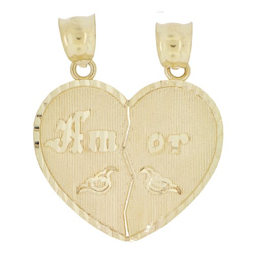 14k Yellow Gold, Sharing Heart Pendant Charm Amor One Charm Splits in Two by GiveMeGold