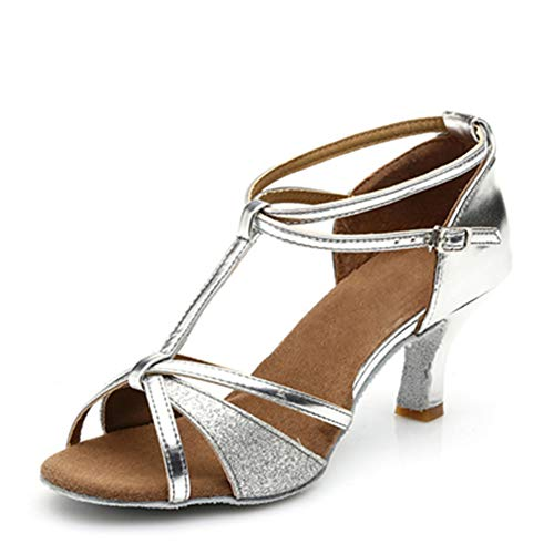Ballroom Dance Shoes Women Latin Salsa Bachata Shoes Suede Sole Wedding Performance Dance Shoes 2.89'' Heel