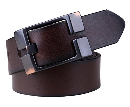 Capplue Casual Square Pin Buckle Mens Belts Full Grain Leather Belt Coffee Belt 32inch (Casual Square Buckle)
