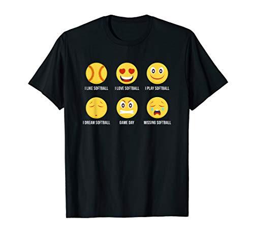 Funny Softball Tshirts I Love Softball Emoji - Athlete Tee]()
