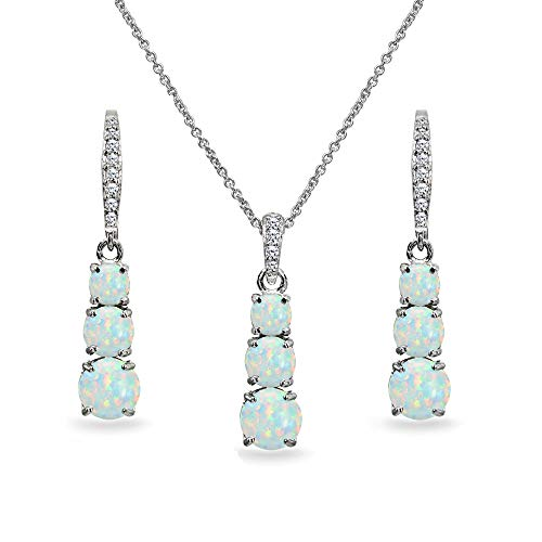 Journey Necklace Set - Sterling Silver Simulated White Opal 3-Stone Journey Pendant Necklace & Dangle Leverback Earrings Set for Women Teen Girls