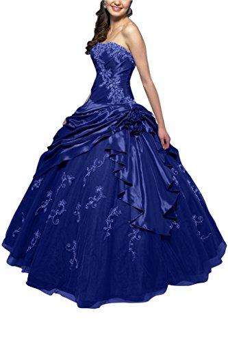 Linie Abendkleid A Taft Bride Tuell Klassisch Royalblau Ballkleid Lang Gorgeous Traegerlos Ballon RqazYX