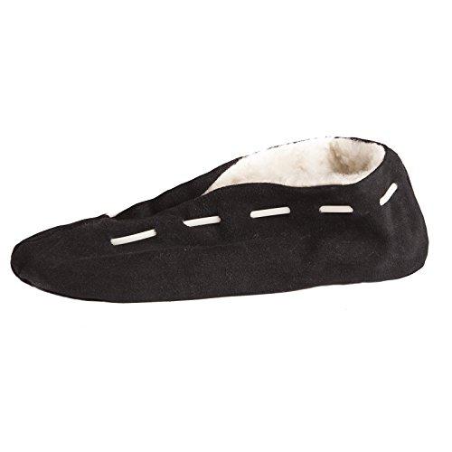 Antiscivolo Con Pantofole Uomo In Scamosciata Pelle Nera Suola Da Brubaker c6pqfw68