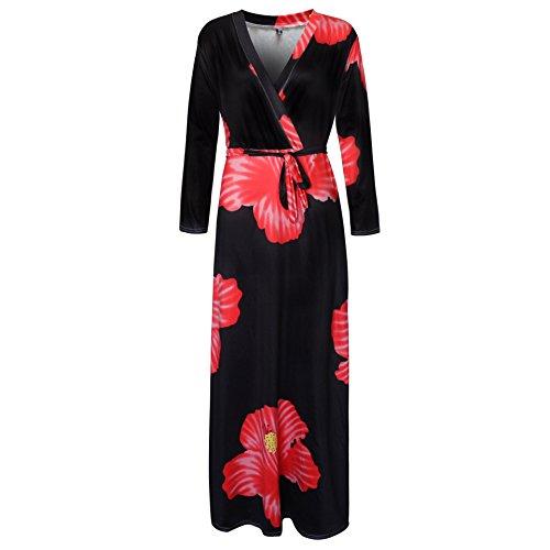 Print Womens Long Long BetterGirl Neck Sexy Size V Dress Dress Sleeve Floral Plus Red Maxi Boho OwwxXBqt8