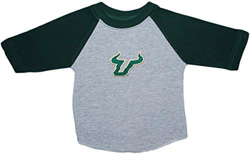 University of South Florida USF Bulls Baby and Toddler 2-Tone Raglan Baseball Shirt