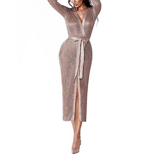 Remxi Women Sexy Metallic Knit Open Front Swimwear Cover Ups Maxi Long Kimono Cardigans Belt Rose Gold M