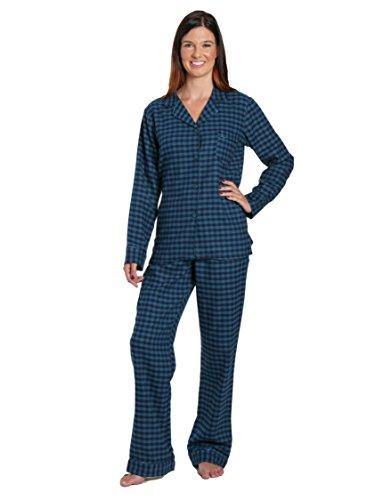 Noble Mount Women's Cotton Flannel Pajama Sleepwear Set - Gingham Teal Blue - X-Large