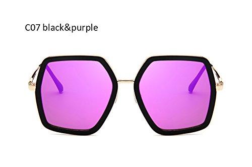 Mujer Señoras de Gafas Sol Vintage Gafas UV400 Negro Mujeres Gafas Sol Sexy de de Azul Negro gradiente para Moda Cuadrado ZHANGYUSEN Espejo morado qIw80w