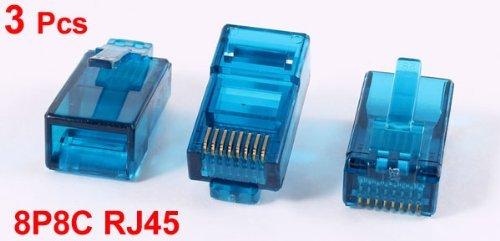 EbuyChX 3 Pcs Teal Blue Plastic Shell RJ45 8P8C Modular Jack End Network Connector