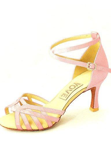 Dance Women's red salsa Customizable Shangyi Customized Latin Black Heel blue fuchsia pink white Bronze Satin yellow Shoes purple 6E5p5qnXAw