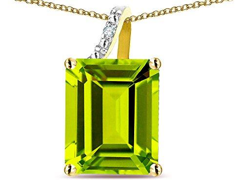 (Star K Large 10x8 Octagon Emerald Cut Genuine Peridot Pendant Necklace 10 kt Yellow Gold)