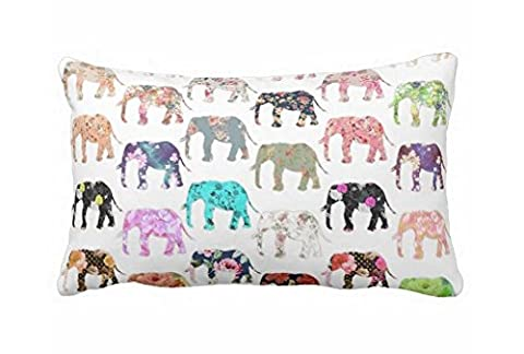 Girly Whimsical Retro Floral Elephants Pattern Throw Pillow Case 20 x 30 inch by Popeven