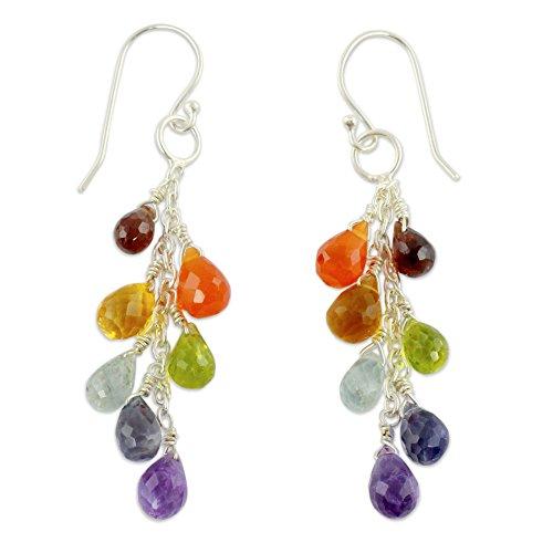 NOVICA Rainbow Multi-Gem Cluster Earrings with Sterling Silver Hooks, 'Vibrancy' (Cluster Gem)