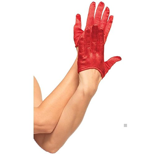 [Mini Cropped Satin Gloves Womens Black/Red/White Fancy Dress Costume Accessory] (Red Mini Cropped Satin Gloves)